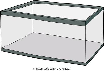 Single hand drawn empty fish tank cartoon over white