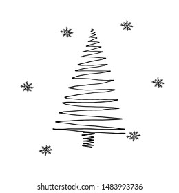 Single hand drawn New Year and Xmas tree. Doodle vector illustration for winter greeting cards, posters, stickers and seasonal design