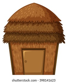 Single hut with roof and door illustration