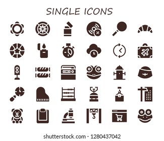 single icon set. 30 filled single icons. Simple modern icons about  - Tambourine, Wind rose, Lighter, Vynil, Loupe, Croissant, Basketball, Clock, Time, Luggage, Traffic light