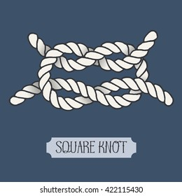 Single illustration of nautical Square knot. Marine rope sign. Artistic hand drawn graphic design element for invitations, cards, decorations or logo