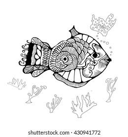Single Isolated Fish Stock Vector Illustration