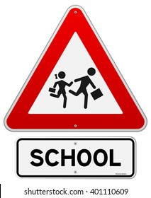 Single isolated school warning sign with running children symbols in red triangle