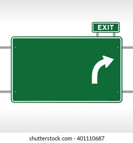 Single large metal blank green highway exit sign with copy space, text and arrow