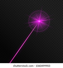 A single laser light of a purple color on a translucent backdrop. Vector illustration with bright pink flash