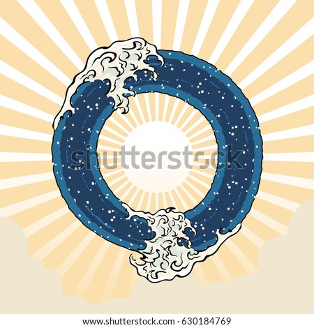 single letter o text sign japanese art ocean wave graphic lettering vector art design illustration