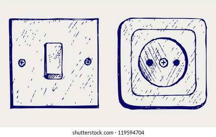 Imágenes, fotos de stock y vectores sobre Light Switch ... on camera drawing, cable drawing, engine drawing, screwdriver drawing, living room drawing,