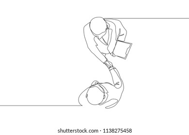 Single line drawing of businessman handshaking his business partner. Great teamwork. Business deal continuous line draw vector illustration