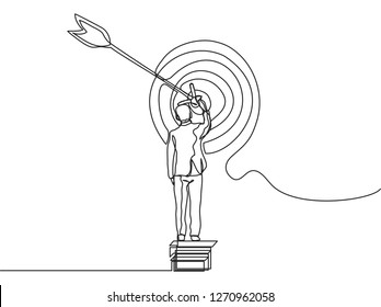 Single line drawing of businessman setting a company target. Great leadership. Business goal concept continuous line draw vector illustration - Vector