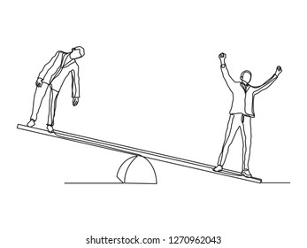Single line drawing of businessmen standing on seesaw. Winner and loser business concept continuous line draw vector illustration - Vector