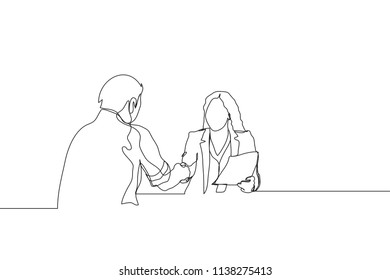 Single line drawing of businesswoman handshaking her business partner. Great teamwork. Business deal continuous line draw vector illustration
