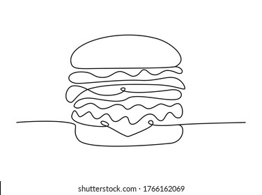 Single line drawing of cheeseburger. Fast food hamburger made of one continuous line, cafe menu and restaurant concept for logo. Modern design street food logotype, vector illustration