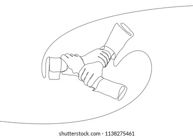 Single line drawing of cooperative hands holding each others. Great teamwork. Team building continuous line draw vector illustration