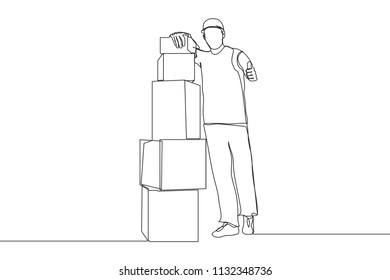 Single line drawing of courier delivering stack box packages and thumb up. Excellent delivery service. Business service continuous line draw vector illustration