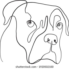 single line drawing of a dog