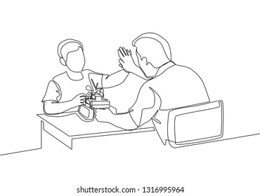Single line drawing of of father accompany his kid playing a robot action figure model kit. Parenting concept continuous line draw design illustration