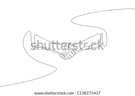 Single Line Drawing Handshake Arms Great Stock Vector Royalty Free