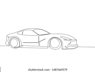 Single line drawing of racing and drifting luxury sedan super car. Sporty car vehicle transportation concept. One continuous line draw design