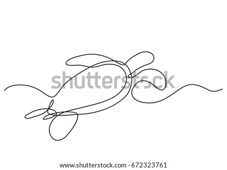 single line drawing sea turtle swimming stock vector royalty free