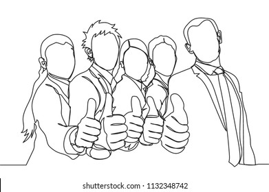 Single line drawing of success young executives team. Great teamwork. Business group continuous line draw vector illustration