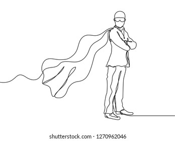Single line drawing of young businessman wearing mask and super hero costume. Young entrepreneur of the year concept. Business continuous line draw vector illustration - Vector