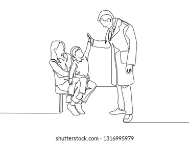 Single line drawing of young happy male doctor visit his sick patient girl. Medical healthcare concept continuous line draw design illustration
