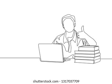 Single line drawing of young happy male college student study in the library beside stack of books and laptop. Education concept continuous line draw design