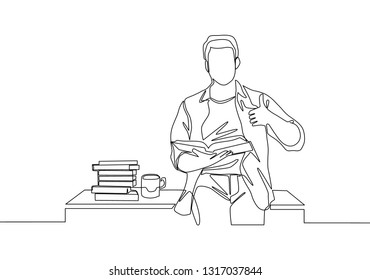 Single line drawing of young happy male college student sitting on the desk beside stack of books. Education concept continuous line draw design