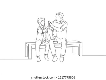 Single line drawing of young happy father sitting relax on wood bench next to his kids and giving high fives gesture. Parenting concept continuous line draw design illustration