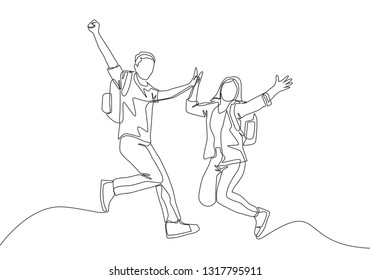 Single line drawing of young happy student couple jumping to celebrate their final exam result graduation. Education concept continuous line draw design illustration
