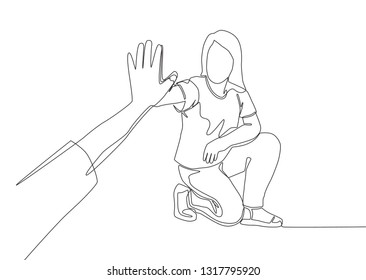 Single line drawing of young happy woman take a rest after do some exercise and giving high five to her friend. Friendship concept continuous line draw design illustration