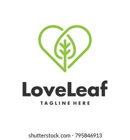 single line leaf and heart logo template
