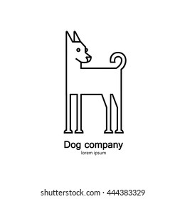 Single logo with a dog made in modern line style vector for veterinarian clinic, pet shop, dog walker, dog training. Easy to use and edit.