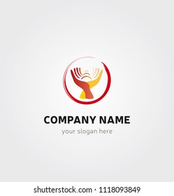 Single Logo - Hands joined together in a Circle for Physiotherapy Osteopathy Massage Logo