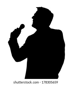 Single Male Opera Singer with Microphone Silhouette