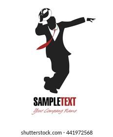 Single man silhouette dancing swing. Good for logotype