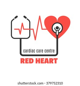 Single medical logo with red heart and stethoscope for cardiac care centre, cardiac clinic. Red heart and stethoscope vector icon for your design.Cardiac care concept illustration.Easy to use and edit