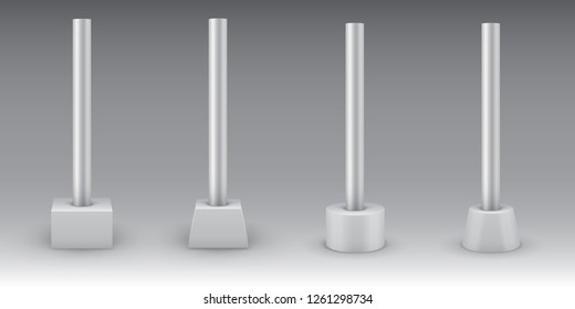 Single metal poles on concrete bases. Steel pipes with footings for road sign, banner, light or billboard. Street advertising construction elements. Vector illustration.