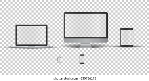 Single monitor, laptop, touch tablet, phone and electronic watch  without screen on transparent background. Template framework. Insert your picture. Vector illustration.