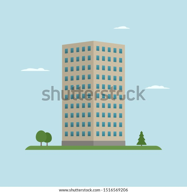 Single Office Building Cartoon Style Vector Stock Vector Royalty Free 1516569206