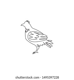 Single one line drawing of adorable grouse bird for foundation logo identity. Shooting bird syndicate mascot concept for tradition icon. Modern continuous line draw design vector illustration