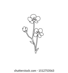 Single one line drawing of beauty fresh ranunculus for garden logo. Printable decorative buttercup flower concept for fashion fabric textile. Trendy continuous line draw design vector illustration