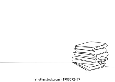 Single one line drawing of books stack. Pile of books icon silhouette for education concept. Infographics, school presentation isolated on white background. Design vector draw graphic illustration