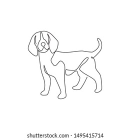 Single one line drawing of cute beagle dog for company logo identity. Purebred dog mascot concept for pedigree friendly pet icon. Modern continuous one line draw design vector graphic illustration