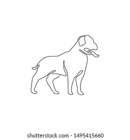 Single one line drawing of dashing rottweiler dog for security complogo identity. Purebred dog mascot concept for pedigree friendly pet icon. Modern continuous one line draw design vector illustration