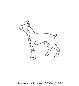 Single one line drawing of gallant boxer dog for security company logo identity. Purebred dog mascot concept for pedigree friendly pet icon. Modern continuous line draw design vector illustration