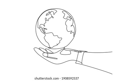 Single one line drawing of hands hold round earth. Globe icon silhouette for world protect concept. Infographics, business presentation isolated on white background. Design vector graphic illustration