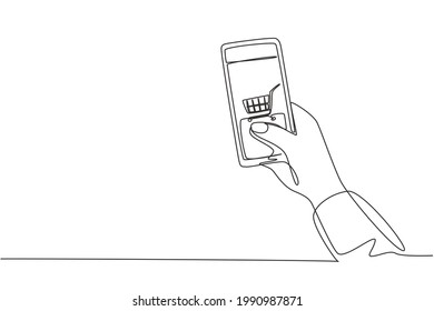 Single one line drawing hands holding smartphone with shopping cart image and touching screen. Digital lifestyle, internet and gadgets concept. Continuous line draw design graphic vector illustration