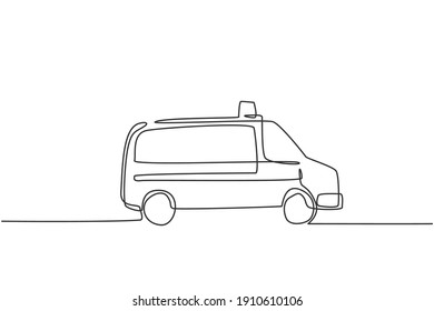 Single one line drawing hospital ambulance car to help injury patient at road accident. Emergency rescue isolated doodle minimal concept. Trendy continuous line draw design graphic vector illustration