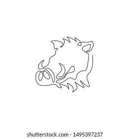 Single one line drawing of ruthless common warthog head for company logo identity. Grassland Africa pig mascot concept for national zoo icon. Modern continuous line draw design vector illustration